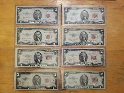 Nice lot of 8 1953Two Dollar Notes