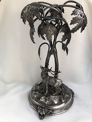 Antique Silverplate Figural Centerpiece Deer Trees Signed Henninger Elkington?