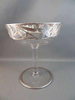 Antique Victorian Glass Footed Candy Compote Sterling Silver Overlay Flowers