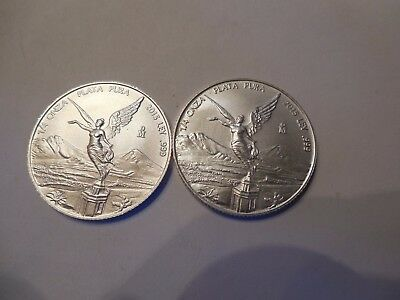 2 Coin lot of 2015 Mexican Silver Libertad BU 1/4 oz .999 Perfect BU condition a