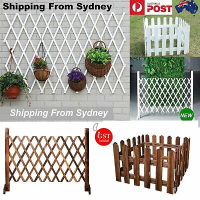 1x White Brown Outdoor Expandable Portable Fence Panel Screen Spaced Windscreen