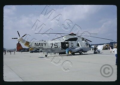 35mm Kodachrome Helicopter Slide - SH-3H Sea King BuNo 151524 HS-15 USS Guam '73