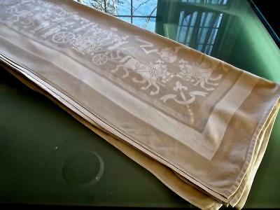 FAB Vintage Gray Damask French Imperial Carriages Coats of Arm 60x98 Tablecloth