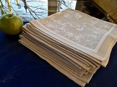 """12 FAB Vintage Gray Damask French Imperial Carriages Coats of Arm 19"""" Napkins"""