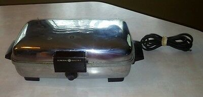GE General Electric Chrome Waffle Maker Iron Removable Plates Makes 4 Each VTG