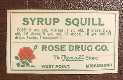 West Point Ms. Mississippi Rose Druggist Bottle Label