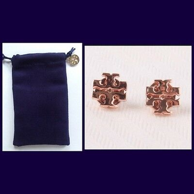 e3a672acdb7 AUTHENTIC TORY BURCH Logo Stud Earrings-Rose Gold W tb Jewelry Bag-Rv  75- New! -  44.10