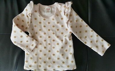 Seed  baby  girl  jumper  pink with glittery gold polkadot  size 12 - 18 months