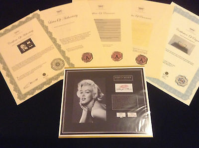 MARILYN MONROE Hair Lock w Towel Piece Provenance Certified Signed COA Authentic
