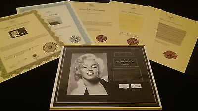 MARILYN MONROE Authentic Hair Lock w Shirt Piece Photo Certified Signed COA