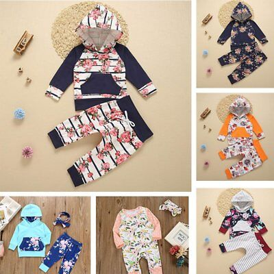 Newborn Infant Baby Boy Girls Clothes Hooded T-shirt Tops+ Pants Outfits set