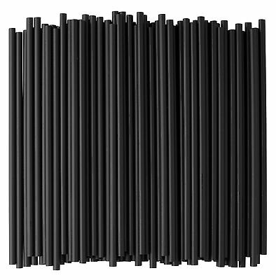 Crystalware, Black Plastic Straws, 7 3/4 Inches, Jumbo Pack 500 Straws