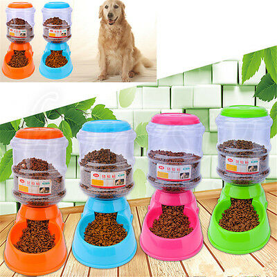 Large Automatic Pet Food Drink Dispenser Dog Cat Feeder  Bowl Dish 3.5L
