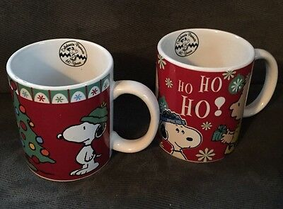 Set Of 2 Peanuts Holiday Mugs Ho Ho Ho Tree Snoopy Charlie Brown Christmas Gibso