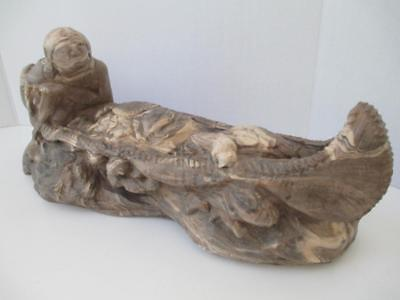Native American Figure & Dog Paddling Canoe Statue Marbled Clay Art Pottery