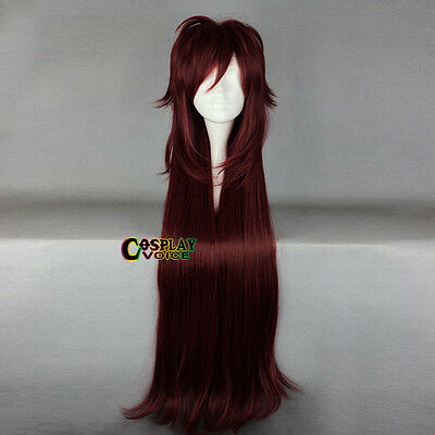 Black Butler 130cm Long Layered Wavy Wine Red Women Anime Party Cosplay Wig