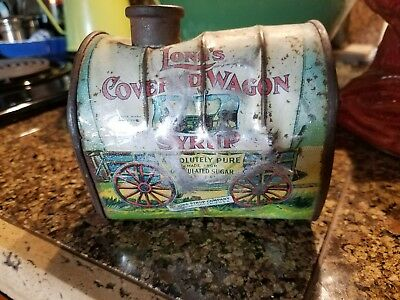 Long's Covered Wagon Syrup Tin Can