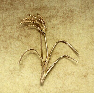 Rice Jewelry Rice Brooch Large 14kt Gold Rice Stalk Brooch