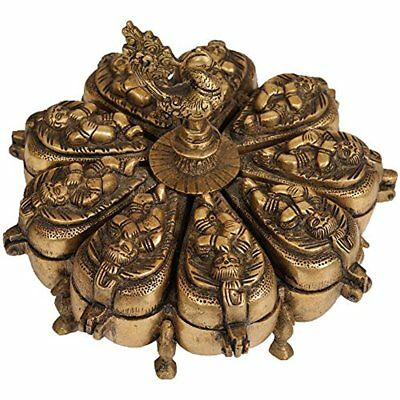 Baby Krishna Ritual Box With Lids - Brass Statue