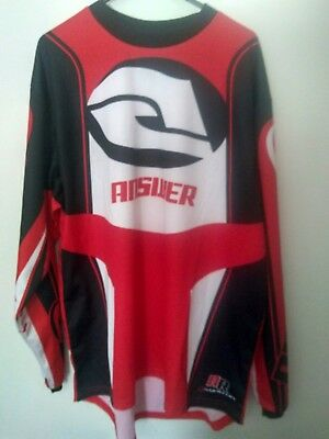 Mens Answer Motorcross Shirt Size Small Red black And White