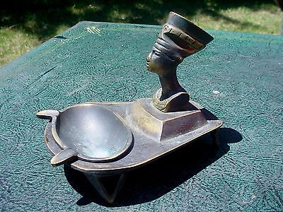 Quality Unusual Old Antique Egyptian Nefertiti Bust Style Metal Table Ashtray