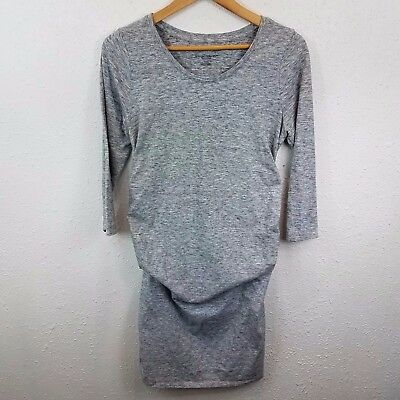 Liz Lange Maternity Womens Sz M Heathered Gray T-Shirt Dress 3/4 Sleeve Stretch