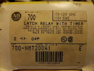 Nib Allen Bradley Time Delay Unit 700-Nmt200A1 W/ Latch Relay 700-Nm200A1