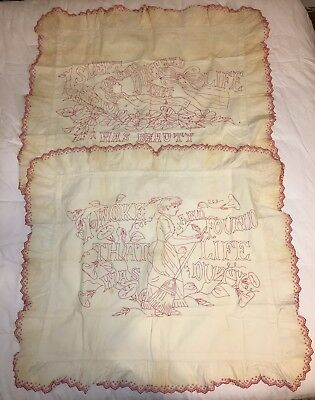 2 Antique Embroidery Red Work Pillow Sham Pieces: Dreamt of Beauty, Woke to Duty
