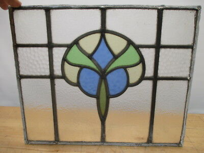"""c1800s GOTHIC MANSION LEADED STAINED GLASS WINDOW 16"""" x 13"""" ORIGINAL"""