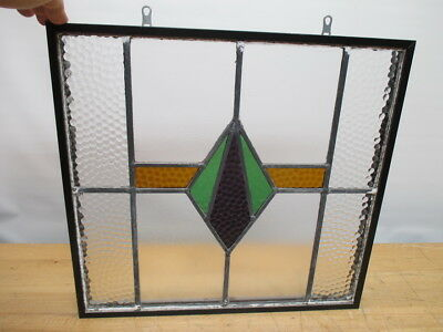 """c1800s GOTHIC MANSION LEADED STAINED GLASS WINDOW 18"""" x 18"""" ORIGINAL"""