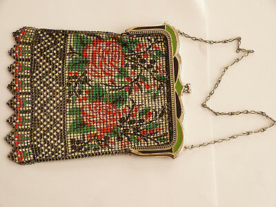 Antique Vintage Art Deco Period Enamel Mesh Handbag, c 1920-1930