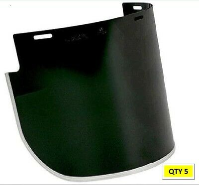 5 x Unisafe VV926 1mm Polycarb Shade 5 Faceshield Visors 250mm x 400mm W Flared