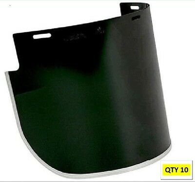 10 x Unisafe VV926 1mm Polycarb Shade 5 Faceshield Visors 250mm x 400mm W Flared