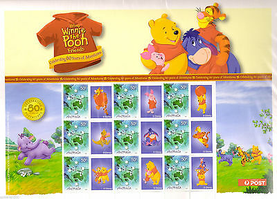 NEW- Winnie the Pooh 80th Aniversary Australian Post Stamp Sheet Collectors Item
