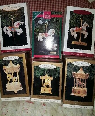 Lot of 6 Hallmark Keepsake Ornaments 1990's Carousels Horses dated New in boxes