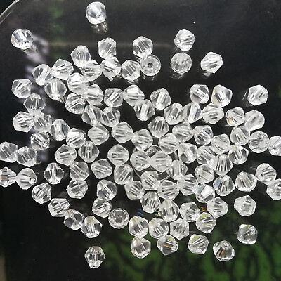 200pcs white exquisite Glass Crystal 4mm Bicone Beads loose beads