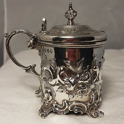 Incredible 1866 Victorian Sterling Silver Repousse Mustard Pot