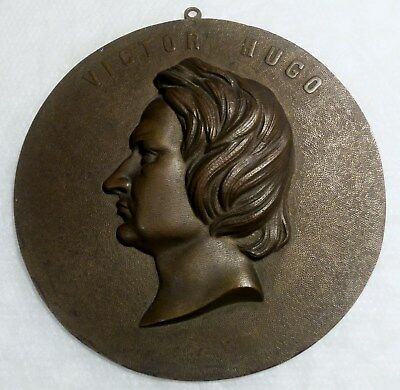 Antique Late 19th Century French Author, Writer VICTOR HUGO BRONZE WALL PLAQUE