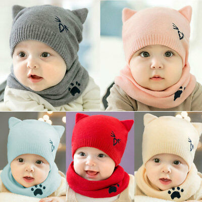 US Baby Toddler Winter Beanie Warm Hat Hooded Scarf Earflap Knitted Cap Kids