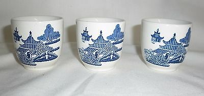3 x Vintage Willow Blue & White Egg Cups - England Churchill