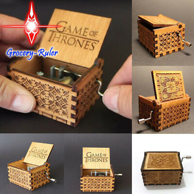 Retro Game of Thrones-Engraved Wooden Music Box interesting Kid Toys Xmas Gifts