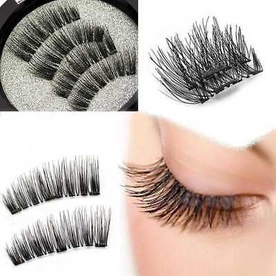 4* Magnetic Eyelashes 3D Handmade Mink Reusable False Triple Magnet Eye Lashes.