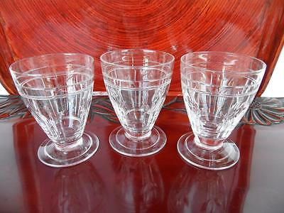 3 Vintage Stuart Crystal England Footed Whisky Sherry Glasses 7.5Cm Tall