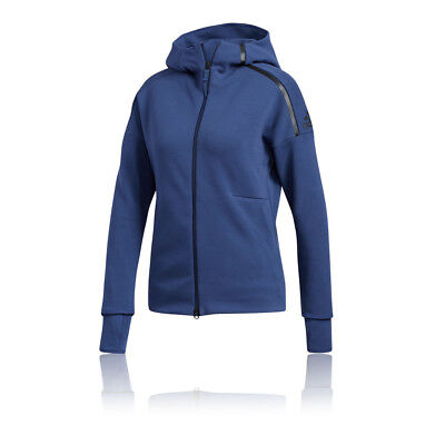adidas Mens ZNE Hoodie 2 Blue Navy Sports Gym Full Zip Hooded Breathable Pockets