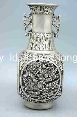 Chinese Old Silver Dragon Phoenix Bird Hollow out Flower Bottle Vase