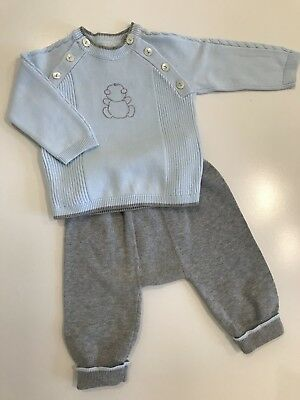 emile et rose boy Blue And Grey Top And Bottoms Spanish Traditional Style 3month