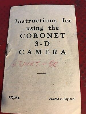 Instructions For Using The Coronet 3-D Camera