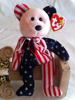 Ty Beanie Babies Spangle Bear Pink Face DOB 6-14-99 Original NM Boys and Girls