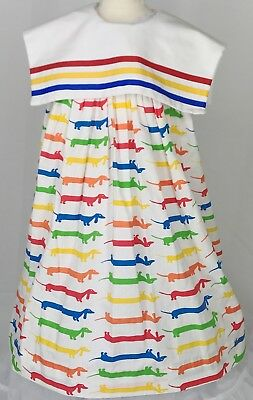 True VTG Union Made Girls Sz 6x Weiner Dog Dress Bright Primary Colors Adorable!
