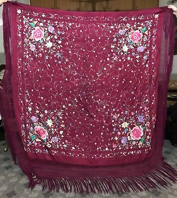 """Antique Chinese Hand Embroidered Silk Piano Shawl 65"""" X 65"""" Fringe 9"""""""